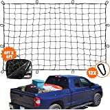 "4'x6' Super Duty Bungee Cargo Net for Truck Bed Stretches to 8'x12' | 12 Tangle-Free D Clip Carabiners | Small 4""x4"" Mesh Hol"