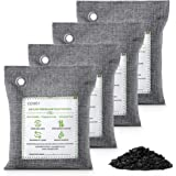 CLEVAST Bamboo Charcoal Air Purifying Bags (4×200g), Removes Odors and Moisture, Nature Fresh Air Purifier Bags, Odor Elimina