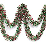 Red, Green, and Silver Metallic Tinsel Twist Garland 4 inches Wide x 25 ft Long