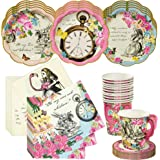 Talking Tables Alice in Wonderland Tea Party Set | Designer Mad Hatter Tea Cups and Saucer Sets, Alice Party Plates and Napki