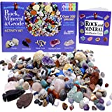 Rock & Mineral Collection Activity Kit (Over 150 Pcs) Educational Identification Sheet Plus 2 Easy Break Geodes Fossilized Sh