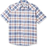 ELY CATTLEMAN Men's Short Sleeve Wrinkle Free Oxford Plaid Western Shirt