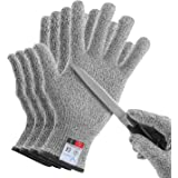 YINENN 2 Pairs (4 Gloves) Cut Resistant Gloves Food Grade Level 5 Hand Protection,Kitchen Cut Gloves for Oyster Shucking,Fish