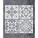 GSS Designs Pack of 4 Stencils Set (6x6 Inch) Tile Stencil Painting On Floor Tiles Wall Fabric Wood Furniture - Laser Cut Reu