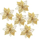 FUNARTY 14-Pack Glitter Poinsettia Christmas Tree Ornaments Artificial Christmas Flowers for Christmas Tree Wreaths Garland H