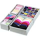 (4 Set with cells, Gray) - SimpleHouseware Closet Underwear Organiser Drawer Divider 4 Set, Grey