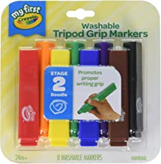 Crayola My First, Tripod Washable Markers for Toddlers, 8ct