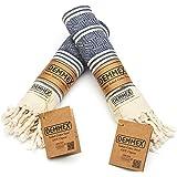 DEMMEX (Set of 2) Certified 100% Organic Cotton & Organic Dye Prewashed Diamond Weave Turkish Hand Face Gym Towel, 18x36 Inch