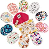 Bamboo Nursing Pads (Multi-Pattern), 10 Pairs (20 PCS) Reusable Breast Pads with Carry Bag and Laundry Bag (by NemRoze)