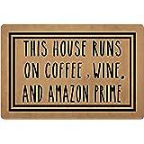 Doormat Funny Front Door Mat- This House Runs On Coffee,Wine Door Mat Rubber Non Slip Backing Funny Doormat for Outdoor/Indoo
