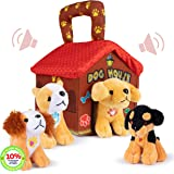Plush Creations Plush Dog House Carrier with 4 Soft and Cuddly, Talking and Barking, Stuffed Plush Dogs. Excellent Interactiv