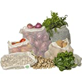 Best Reusable Mesh Produce Bags from 100% Organic Cotton - Mesh Vegetable Bags - Eco-friendly, Bio-degradable & Washable Mesh