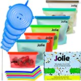 Reusable Silicone Food Bags - Microwave & Freezer Safe Storage Bag 5-Pack with Spatula, Sponge & Sink Cover - FDA Eco Friendl