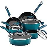 Rachael Ray Classic Brights Hard Porcelain Enamel Nonstick Cookware Set, 10-Piece, Marine Blue