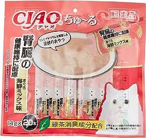 チャオ (CIAO) 猫用おやつ ちゅ~る 腎臓の健康維持に配慮 まぐろ 海鮮ミックス味 14g×20本入