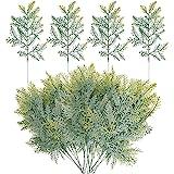 Watayo 40 PCS Artificial Faux Cedar Branches-13.3x7 Inches Artificial Cedar Sprigs-Faux Cedar Pine Stems Picks for DIY Garlan