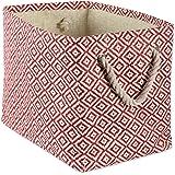 DII Geo Diamond Woven Paper Laundry Hamper or Storage Bin, Large Rectangle, Rust