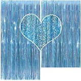 Metallic Tinsel Birthday Foil Fringe Curtain Backdrop 2 Packs 3ftx8ft Laser Party Backdrop Curtain,CYLMFC Rain Curtain for Pa