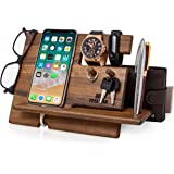 TESLYAR Natural Walnut Wood Phone Docking Station Key Hooks Holder Wallet Stand Watch Organizer Men Gift Husband Anniversary