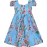 Sunny Fashion Girls Dress Blue Flower Short Sleeve Party Birthday Kids Size 2-10 Years