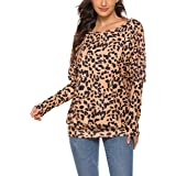 Feager Women's Leopard Print Tops Batwing Sleeve Off Shoulder Casual Sweatshirt Blouse