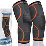 Modvel 2 Pack Knee Compression Sleeve | Best Knee Brace | Knee Support for Arthritis, ACL, Meniscus Tear, Running, Biking, an