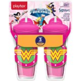 Playtex Sipsters Stage 3 DC Super Friends Wonder Woman Spill-Proof, Leak-Proof, Break-Proof Insulated Toddler Straw Sippy Cup