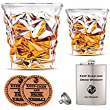 Vaci Crystal Whiskey Glasses – Set of 2 Bourbon Glasses, Tumblers for Drinking Scotch, Cognac, Irish Whisky, Large 10oz Lead-