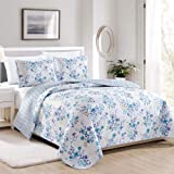 Great Bay Home April Morning Collection 3 Piece Quilt Set with Shams. Reversible Floral Bedspread Coverlet. Machine Washable.