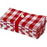 (Gingham Checks - Red) - Cotton Craft 12 Pack Gingham Cheques Oversized Dinner Napkins - Red - Size 20x20-100% Cotton - Tailo