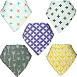 Perrassi Kids - Bamboo Baby Bandana Bibs - 5 pack of Boys and Girls - Unisex - Absorbent – Drool – Teething – Food – Dribble