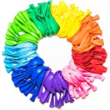 Party Balloons 12 Inches Rainbow Set (100 Pack), Assorted Colored Balloons Bulk Made Strong Latex Helium Air Use, Birthday Ba
