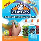 Elmer's 2022911 Rainbow Slime Starter Kit with Green, Blue and Red Glitter Glue, 6 Ounces Each, (3 Count)