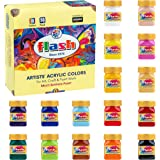 Flash Acrylic Paint Set | 16 Colors | 50 ml Each | High Pigment Strength | Non Fading | Indoor/Outdoor | Non Toxic | Multi-Su