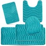 Elvoki 5 Piece Bathroom Rugs Set - Soft Non Slip Memory Foam Large Bathroom Rug Mats - Perfect Combination of Luxury and Comf