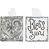 Creative Co-Op White Wood and Tin Bless You Tissue Box Cover