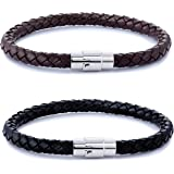 FIBO STEEL 2-3PCS Stainless Steel Braided Leather Bracelet for Men Women Wrist Cuff Bracelet 7.5-8.5 inches