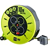 Masterplug CMU10134SL-PX Cassette Reel, Green Grey, 4 Socket 10m Cable Length