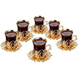 Luxury Turkish Tea Set with Saucers for 6 People - New Gold and Silver Tulip Flowered Design 12 Pieces Set - Great Vintage Ho
