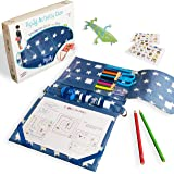 Pipity Travel Games, Puzzles, Arts and Crafts for Boys and Girls. Compact Carry Case with Art Kit and Activity Book. Great Gi