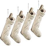 "Komotu Pack 4,15"" Unique Burgundy Knit Christmas Stockings"