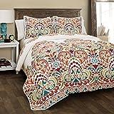 Lush Decor 16T000186 Clara 3 Piece Quilt Set, Full/Queen, Turquoise/Tangerine