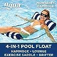 Aqua AQL12674S1 Monterey 4-in-1 Multi-Purpose Inflatable Hammock (Saddle, Lounge Chair, Hammock, Drifter) Portable Pool Float