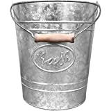 Autumn Alley Galvanized Trash Can | Small Bathroom Waste Bin | Embossed Rings, Oval Label and Turned Wood Handle add Farmhous