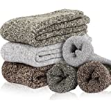 ZISION Men & Women Heavy Thick Wool Crew Socks, Thermal Warm Crew Winter Socks Gift (One Size 6-12) - 3 Pairs