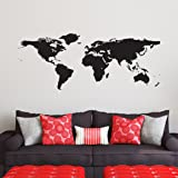 Black World Map Wall Decal - Easy to Apply Modern Large Earth Mural - Vinyl Atlas Graphic Wall Decoration Art for Kids Room,