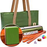 Yellow Mountain Imports American Mahjong Set, Huntington with Olive Green Soft Case - 4 All-in-One Racks with Pushers, Dice,