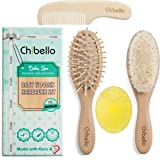 Chibello 4 Piece Wooden Baby Hair Brush and Comb Set Natural Goat Bristles Brush for Cradle Cap Treatment Wood Bristle Brush