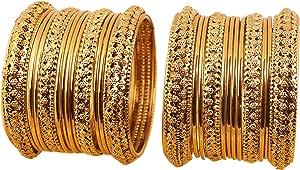 新しい。Touchstone Indian Bollywood Hand WovenホットレッドシルクスレッドKundan Lookイエローラインストーンゴールデンビーズメタルバングルブレスレットデザイナージュエリー。アンティークゴールドトーンの女性の18のセット。 ゴールド