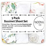 NODNAL CO. Pink Floral Bassinet Fitted Sheet Set 3 Pack 100% Jersey Cotton for Baby Girl - Peony and Eucalyptus Flowers 160 G